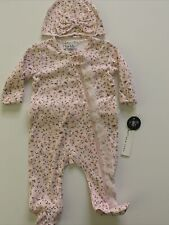Nicole Miller Baby Girl Coverall Sleeper Hat Set Size 3-6 Months Floral Pink