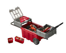 Keter Portable Rolling Tool Box Storage Cart Chest Cabinet Tool Organizer, Red