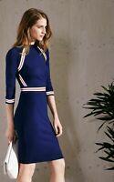 New Karen Millen Stripe Stretch Knit Bodycon Dress Sz XS,M, L
