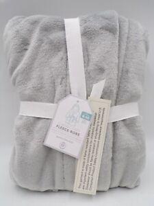 Pottery Barn Kids Solid Plush Classic Cozy Fleece Robe Gray Large 8-10 #9139