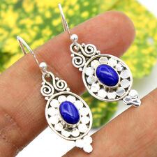 Solid 925 Sterling silver Blue Lapis Lazuli Gemstone Hand Made Earring 1.45 ""