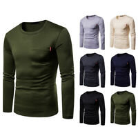Fleece MEN'S  Sweatshirt Pullover LONG SLEEVE POCKET T-SHIRT PLAIN  TOP CASUAL