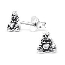 925 Sterling Silver Buddha Stud Earrings
