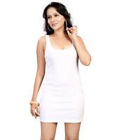 Women Ladies Vest Top Plain White Long Summer Sleeveless Vest Dress UK6-24 Divas