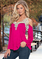New Sexy Fashion Women Off-Shoulder Long Sleeve Tops Casual Lace Blouse T Shirt