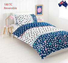 Aus Qlty Girls REVERSIBLE Print Single Bed Doona/Quilt Cover Set 180TC