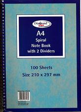 A4 spirale NOTEBOOK RIGATA 100 FOGLI CON 2 dividers-cpg213