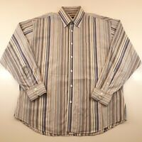 Bugatchi Uomo Mens Size XL Button Front Long Sleeve Striped Dress Shirt Colorful