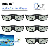 5x 3D Active Shutter Glasses DLP-Link USB 96Hz/144Hz Black For Optoma BenQ