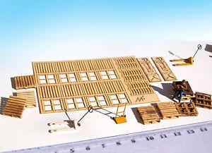 Miniature Wood Pallets Lifter KIT laser cut 1:87 HO scale model diorama railway