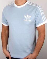 Hommes Adidas Originals California T Shirt Bleu Clair Moyen BNWT 3 Rayures