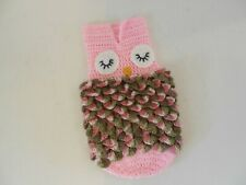 Handmade Crocheted Owl Cocoon Outfit for Infant Girl Photo Op Pk. Green & White