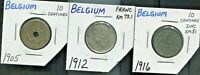 BELGIUM - THREE BEAUTIFUL HISTORICAL COINS,  ONE SILVER, 1905-1916