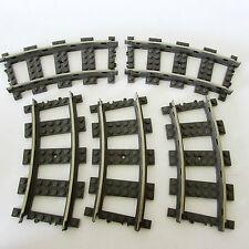 LEGO TRAIN TRACK 2867 5 x TRACKS Grey CITY PARTS CURVE 9V RAILWAY PIECES JOB LOT