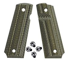 1911 G10 Grips Full Size BlackGreen Gk8 + Spiral design Torx grip screws, 1911