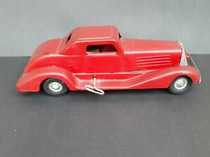 Vtg Marx Siren Fire Chief Pressed Steel Wind Up Toy Car & Key 1930s Repainted