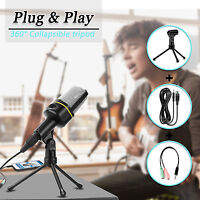 Professional 3.5mm Podcast Condenser Microphone PC Recording MIC W /Stand Tripod