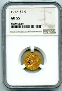 1912 $2.5 Gold Indian Head Quarter Eagle Coin NGC AU 55