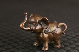 Lovely Rare Chinese bronze hand casting elephant statue good stand
