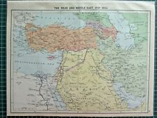 HISTORICAL MAP ~ THE NEAR & MIDDLE EAST 1919-1922 ARABIA SYRIA TURKEY ANATOLIA