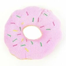 2 pcs Pet Chew Toys Donut Shape Dog Toys Puppy Pink Beige