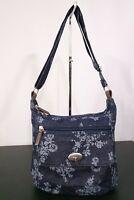 Vintage Blue Denim Floral Unbranded Adjustable Strap Handbag Purse / Pre-Owned