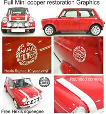Austin Rover Mini Classic Cooper bonnet side pin stripes crests stickers Decals