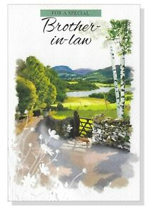 Brother In Law Happy Birthday Card - Outdoor Scene Fields Male Mens SIMON ELVIN