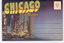 Vintage 1950 Fold Out Souvenir Postcard 16 Pictures Chicago At Night Unposted
