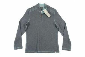 JACHS CM46-396-JM7 HALFZIP MOCK NECK REVERSIBLE MEDIUM GRAY GREEN SWEATER NWT