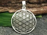 Blume des Lebens Anhänger 925 Sterling Silber Ø 2,6 cm Lebensblume Mandala