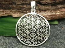 Blume des Lebens Anhänger 925 Sterling Silber Ø 2,6 cm Band Lebensblume Mandala