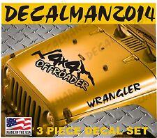 Jeep Wrangler  4x4 OFFROADER  3 piece set Vinyl Hood Decals TJ LJ JK JKU
