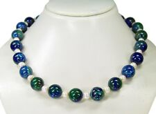 Beautiful Necklace from the Gemstone Azurite-Malachite with freshwater pearls