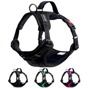 No Pull Reflective Pet Harness for Car Small Medium Dogs w/ Handle Safety Vest