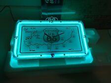 NEON GREEN ROUTE 66 NEON WALL CLOCK. Boston Celtics-esque. NEW.