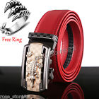 New Luxury Men's Genuine Leather Automatic Buckle Red Waist Strap Belt Waistband