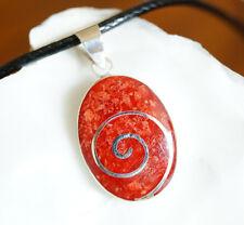 Anhänger Silber 2,7 cm & Kette Koralle Rot Oval Spirale Shivas Auge Echt Orange