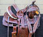 HORSE SADDLE WESTERN USED TRAIL BARREL RACING CUSTOM TOOLED LEATHER TACK 12 13