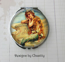 Mermaid Compact Mirror Make Up Pocket Ocean Mythical Dreams VTG Art