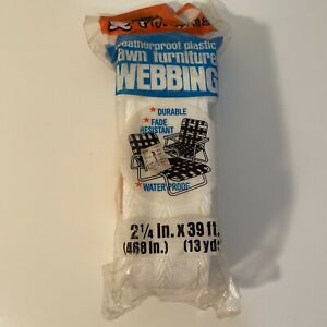 """Frost King Lawn Furniture Webbing 39 Feet of 2 1/4"""" White with Gray Striping"""