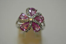 9ct Diamond and Pink Sapphire Ring