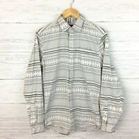GAP Men's Grey and White Print Shirt Button Front Long Sleeve Slim Fit Small