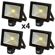 4 x LED PIR Sensor Floodlight Light 20W Black Outside Security