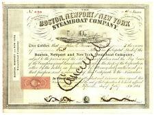 Boston, Newport and New York Steamboat Company. Stock Certificate. 1865
