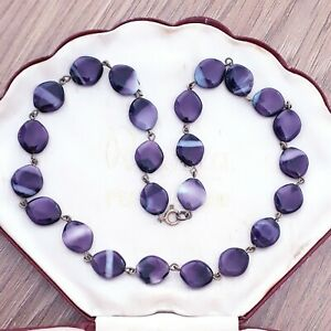 VINTAGE SCOTTISH GLOWING PURPLE GLASS BANDED AGATE DELIGHTFUL WIRED NECKLACE