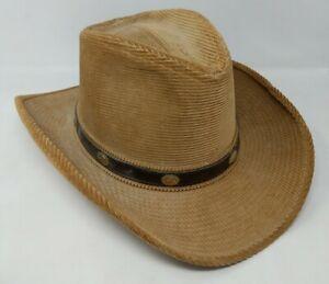 Resistol Stagecoach Ranchman Tan Corduroy Cowboy Hat Size 7 1/2 VTG Leather Band