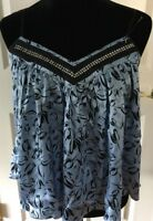 Bebe SILK tank blue black print w Rhinestones V neck blouse sleeveless sz S NEW