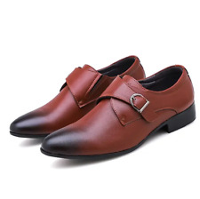 Fashion Mens Round Toe Buckle Dress Formal Wedding Flats Casual Faux Leather D
