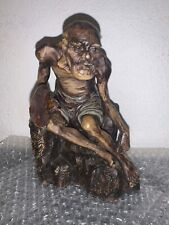 Antique Old Chinese Man On Rock, Great Detail, With Mark Wang Gu Ying